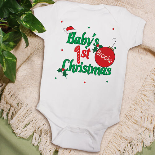 babys first christmas onesies