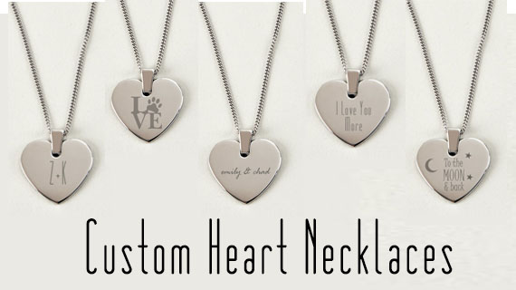 Personalized Heart Necklaces & Jewelry by Engraved Gift Collection