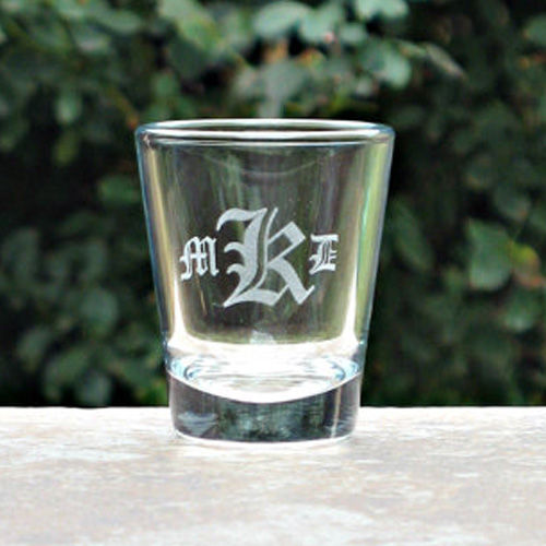 monogram shot glass engraved gift collection